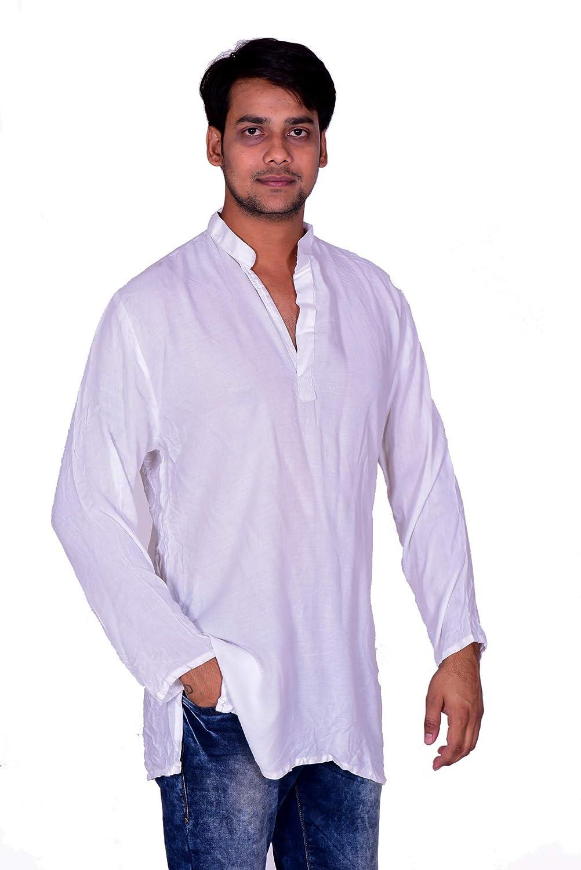 Lakkar Haveli Mens Indian Tunic Button Down Shirts Shirt Kurta Solid White Color 100/% Cotton Big Tall