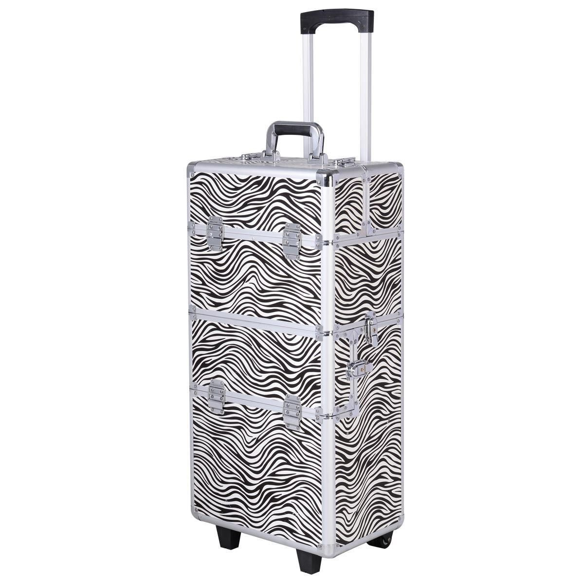 3 in 1 Pro Aluminum Rolling Makeup Case Salon Cosmetic Organizer Trolley - Zebra By Allgoodsdelight365