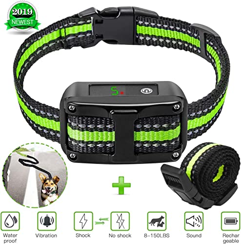 Icnow Bark Collar Barking Control Training Collar with Beep Vibration No Harm Shock Collar 5 Adjustable Sensitivity Control for Small Medium Large Dog with Extra Free Dog Leash