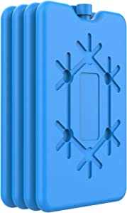 OUTXE Ice Packs for Lunch Box - Reusable Ultra-Thin Freezer Packs - Long-Lasting Cool Packs for Coolers, Keep Food Fresh and Cold in Lunch Boxes and breastmilk Bags - 4 Pack (Blue)