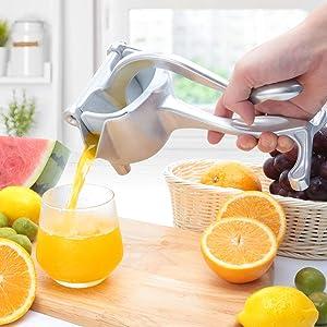 JOBO Manual Fruit Juicer Squeezer Heavy Duty Lemon Lime Citrus Hand Press Bar Tool Juice Squeezer (Silver, Aluminum Alloy)