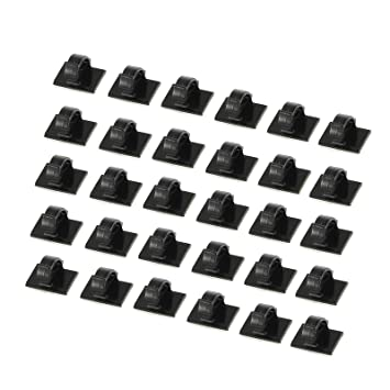 Cable Clips 30 PCS Self-adhesive Cable Ties Plastic Rectangle ...
