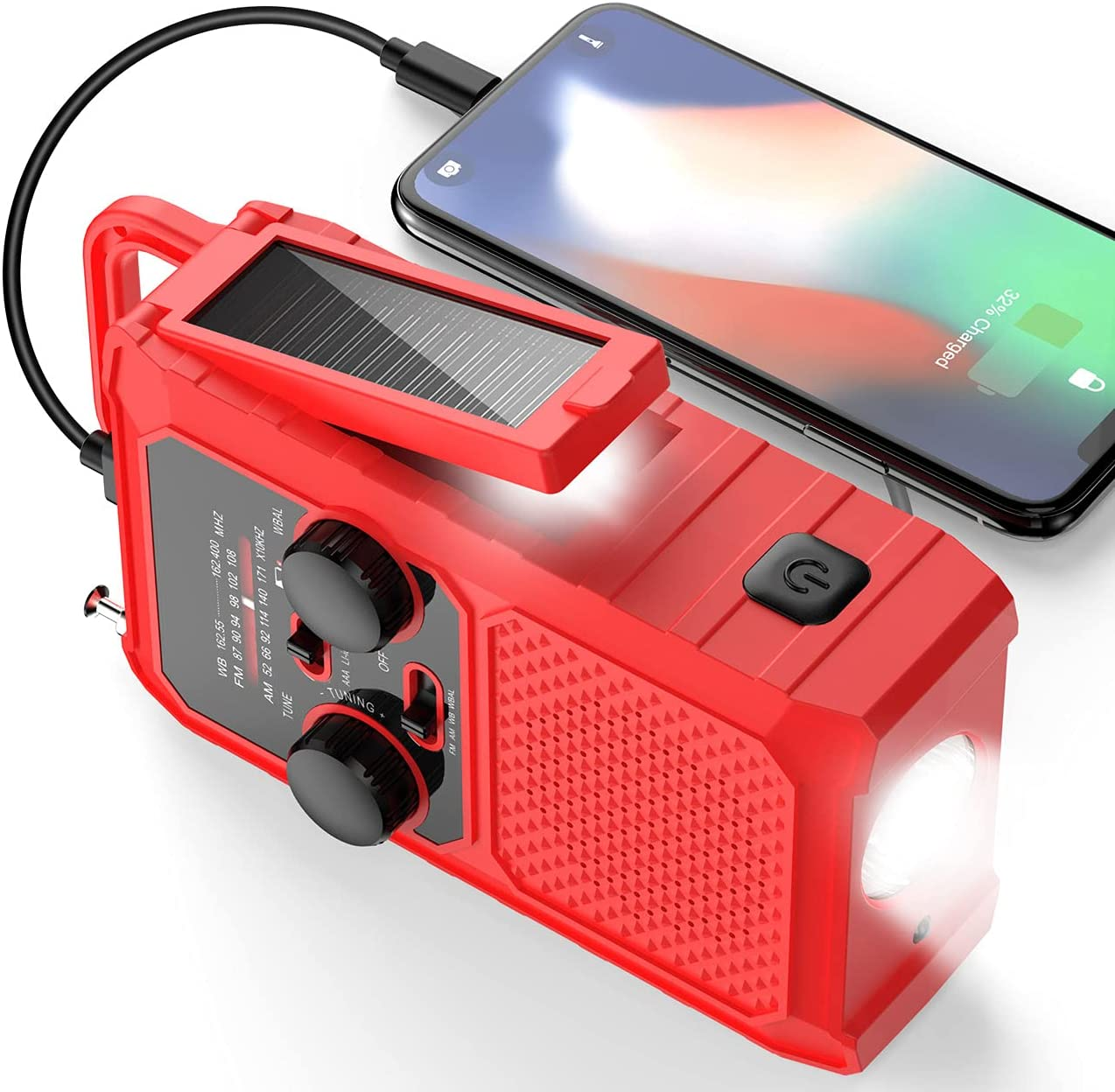 FDKOBE Emergency Solar Hand Crank Charger Portable Small Radio, 5000mAh Rechargeable Battery Weather Radio, AM/FM/NOAA with 1W LED Flashlight& Reading Lamp,Cell Phone Charger, SOS for Home and Outdoor