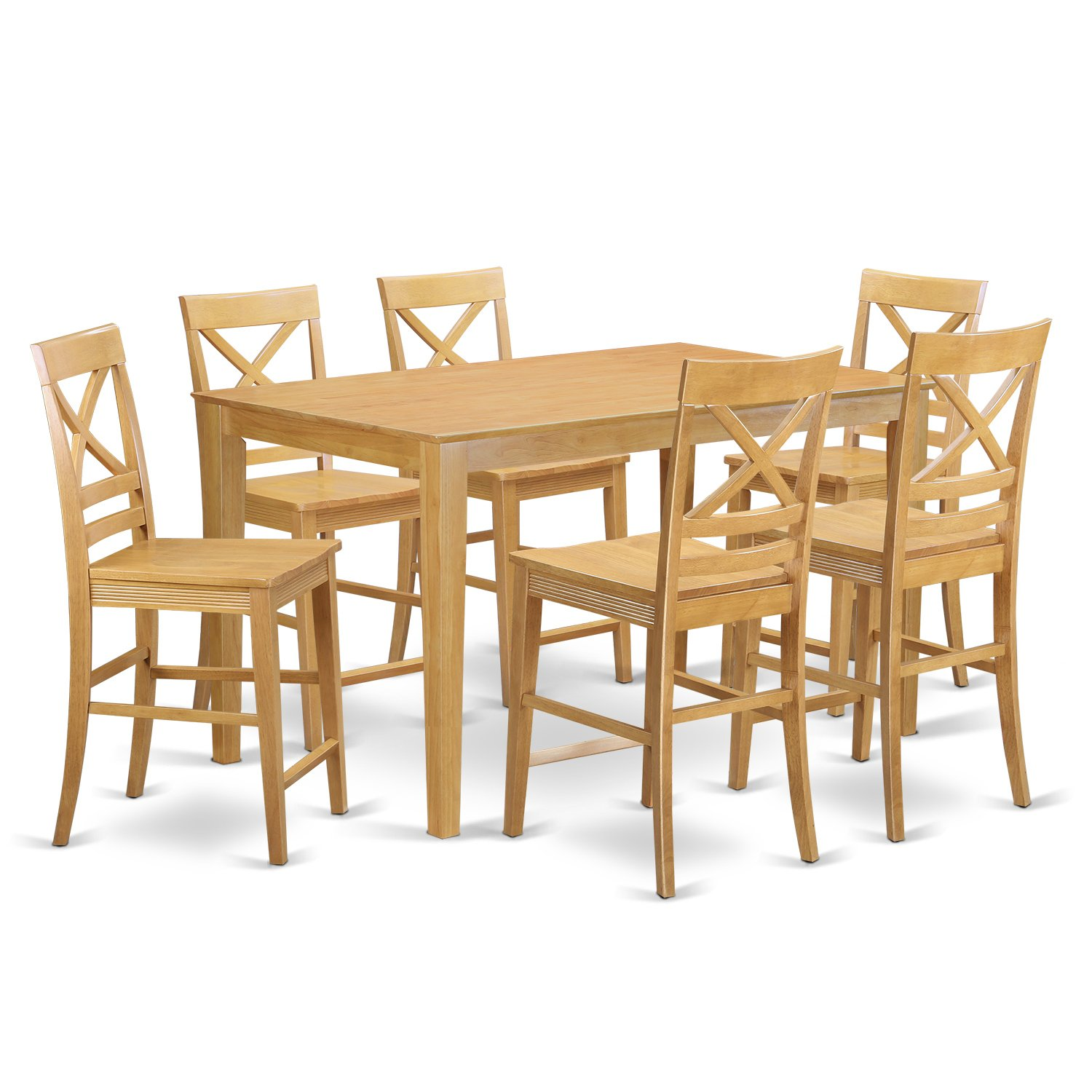 East West Furniture CAQU7H-OAK-W 7 Piece Counter Height Table and 6 Stool Set
