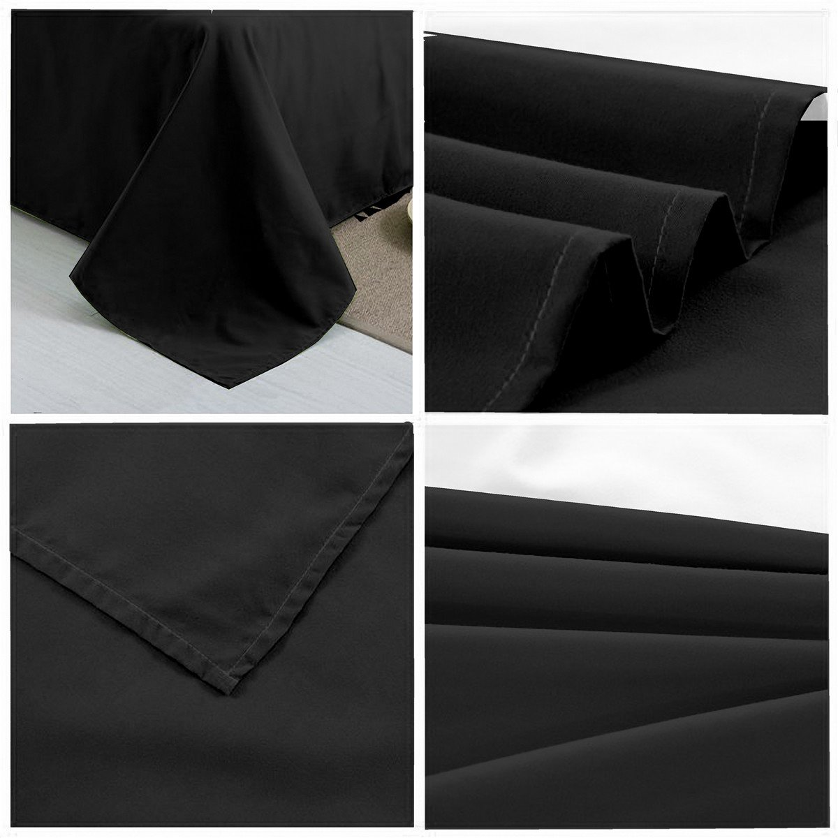CC&DD HOME FASHION Flat Sheet, Velvety Brushed Microfiber, Soft/Comfortable, Twin, Black CC&DD INC FLT