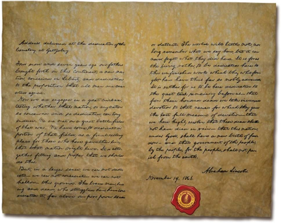 Gettysburg Address, Authentic Replica Printed on Antiqued Genuine Parchment. 14 X 11