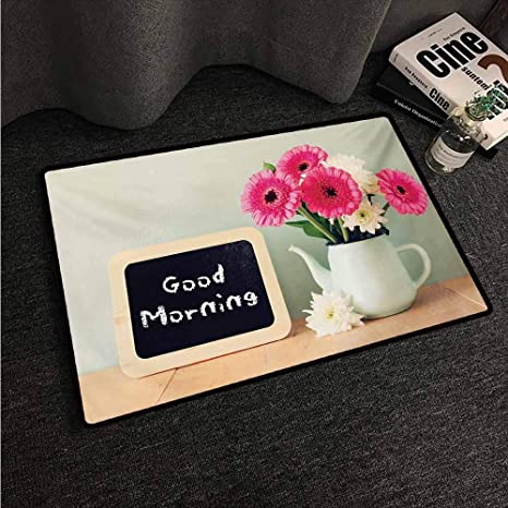 Amazon Com Long Kitchen Mat Bath Carpet Quote Blackboard With The Phrase Good Morning Written On It Next To Vase With Fresh Flowers Multicolor W16 Xl24 Truck Mats Kitchen Dining
