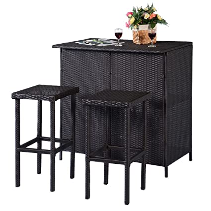 amazon com tangkula 3 piece patio bar set rattan wicker bar stools
