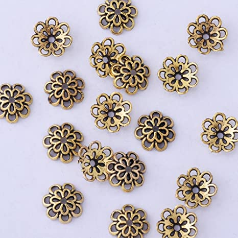 Jewellery Making Findings 50pcs Vintage Gold Flower Bead End Caps 10mm