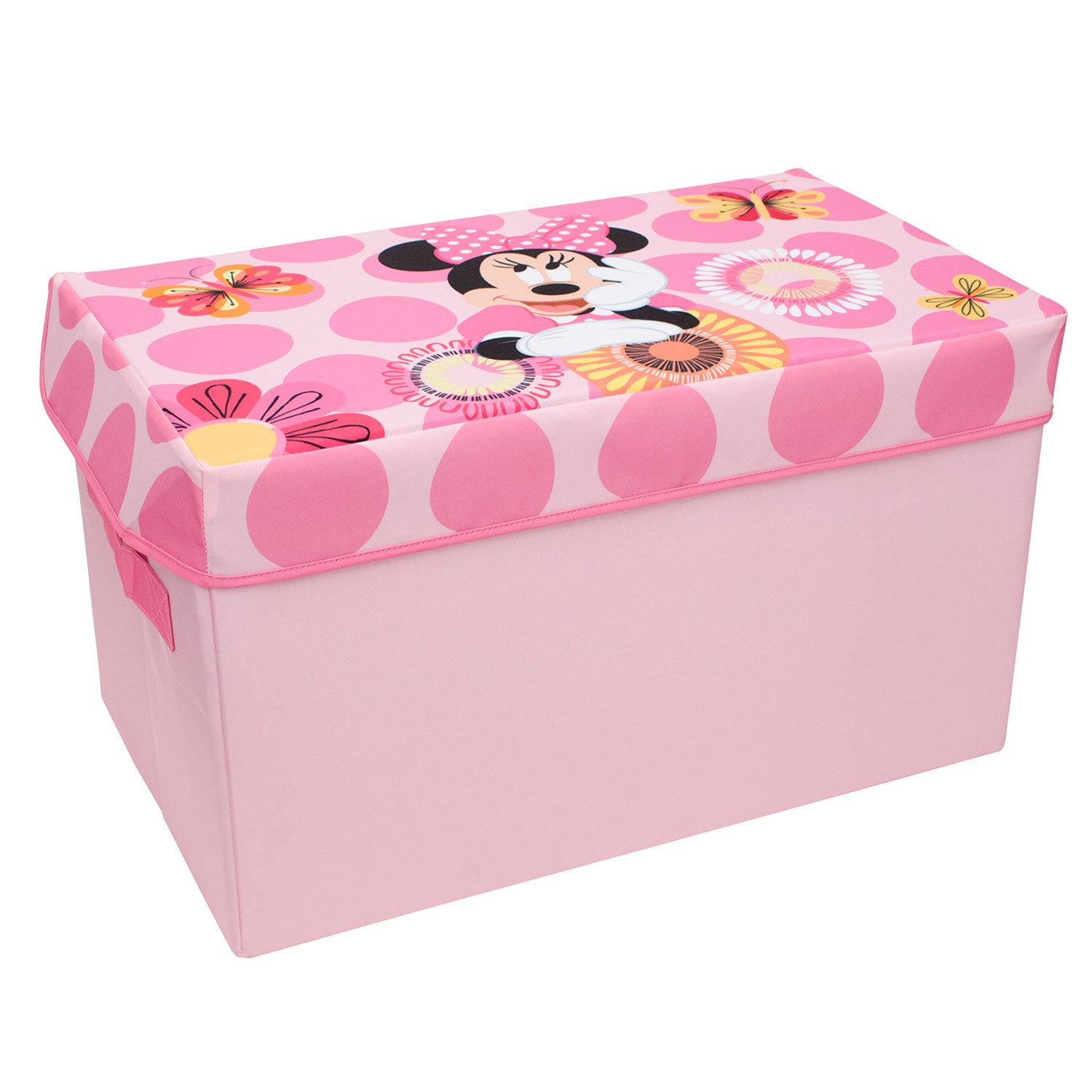 Minnie Mouse Collapsible KidsToy Storage Chest by Disney - Flip-Top Toy Organizer Bin for Closets, Kids Bedroom, Boys & Girls Toys - Foldable Toy Basket Organizer with Strong Handles & Design Everything Mary
