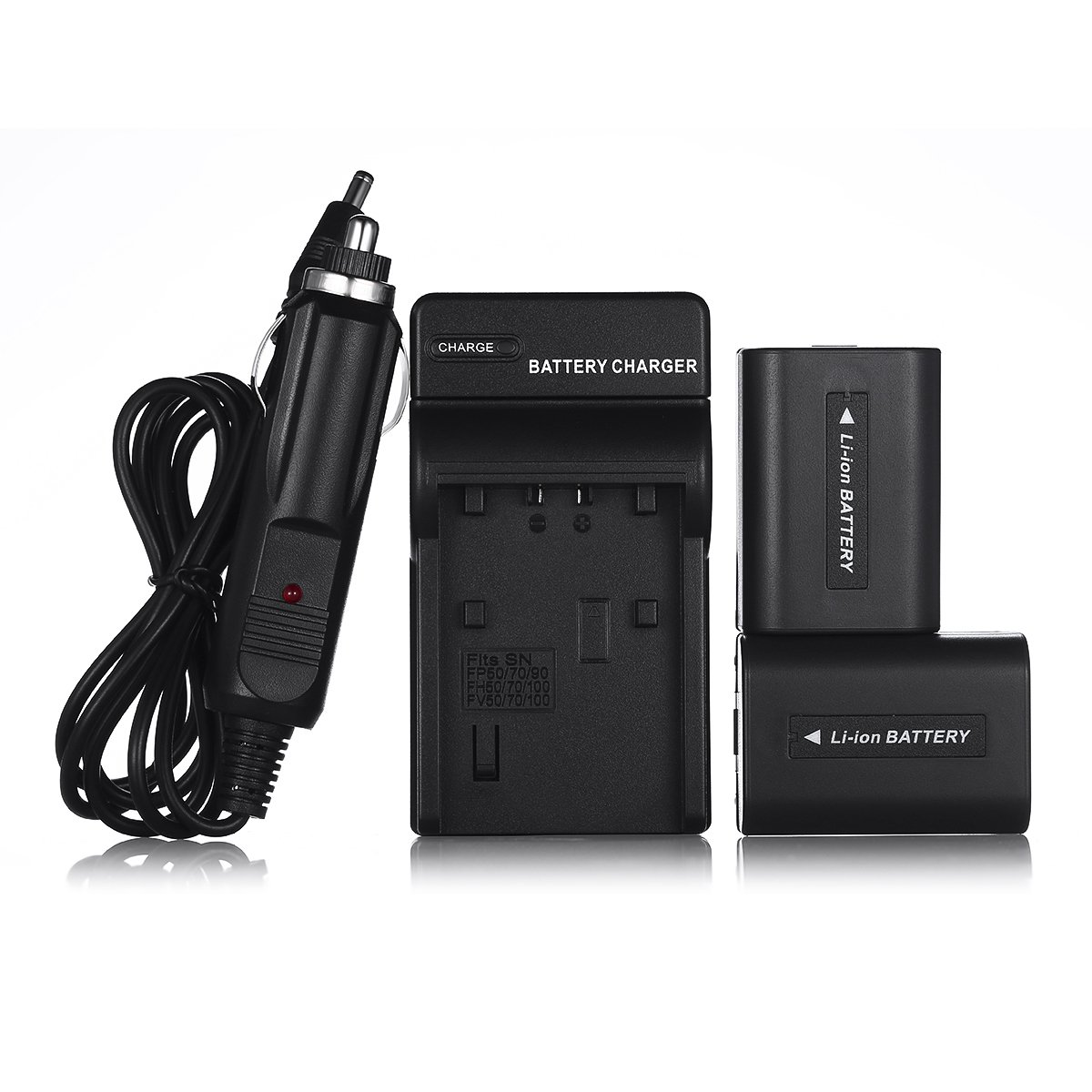 Powerextra 2 Pcs Replacement Sony NP-FH50 Battery and Charger Compatible With Sony Alpha DSLR A230, DSLR A290, DSLR A330, DSLR A380, DSLR A390, Cyber-shot DSC-HX1, DSC-HX100V, DSC-HX200V, HDR-TG5V