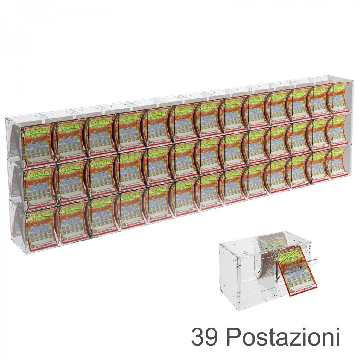 Espositore gratta e vinci da banco o da soffitto in plexiglass trasparente a 39 contenitori munito di sportellino frontale lato rivenditore