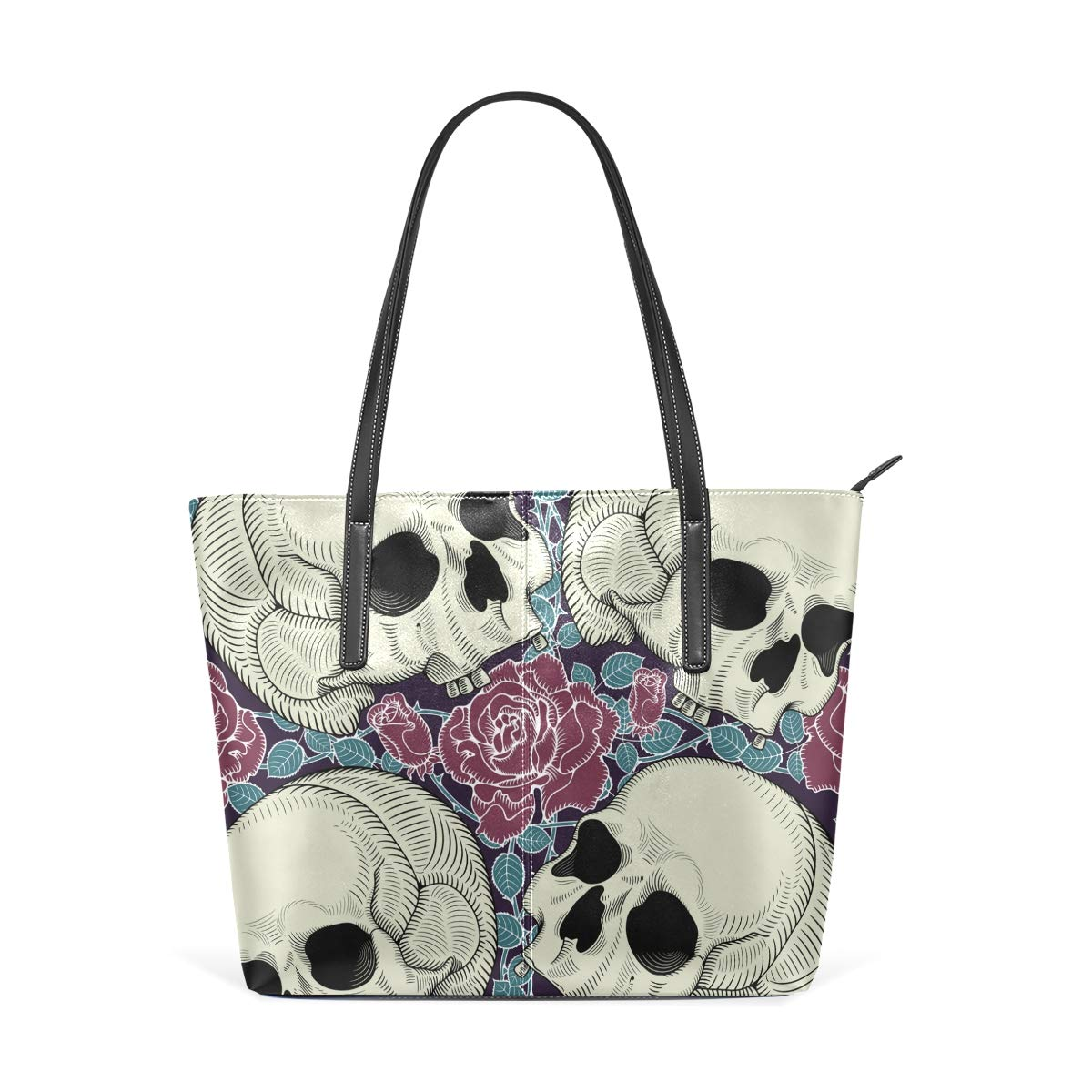Skull Rose Flowers Day Of The Dead Vintage Illustration Womens PU Leather Tote Shoulder Bags Handbags Casual Bag