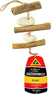 Southernmost Point Key West Driftwood Mobile Decorative Hanging Strand Coastal Home Decor 13 1/2 Inches Long