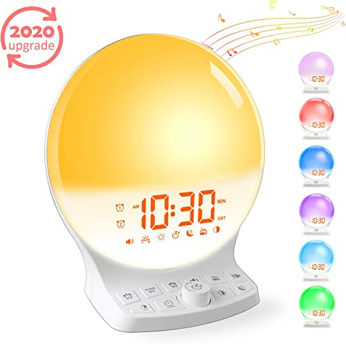 Sunrise Alarm Clock Wake Up Light, Dual Light Alarm Clock with Sunrise Sunset Simulation, 7 Colored Night Light, FM Radio Clock 7 Natural Sounds, 30 Brightness, Dimmer, Snooze for Heavy Sleeper Kids
