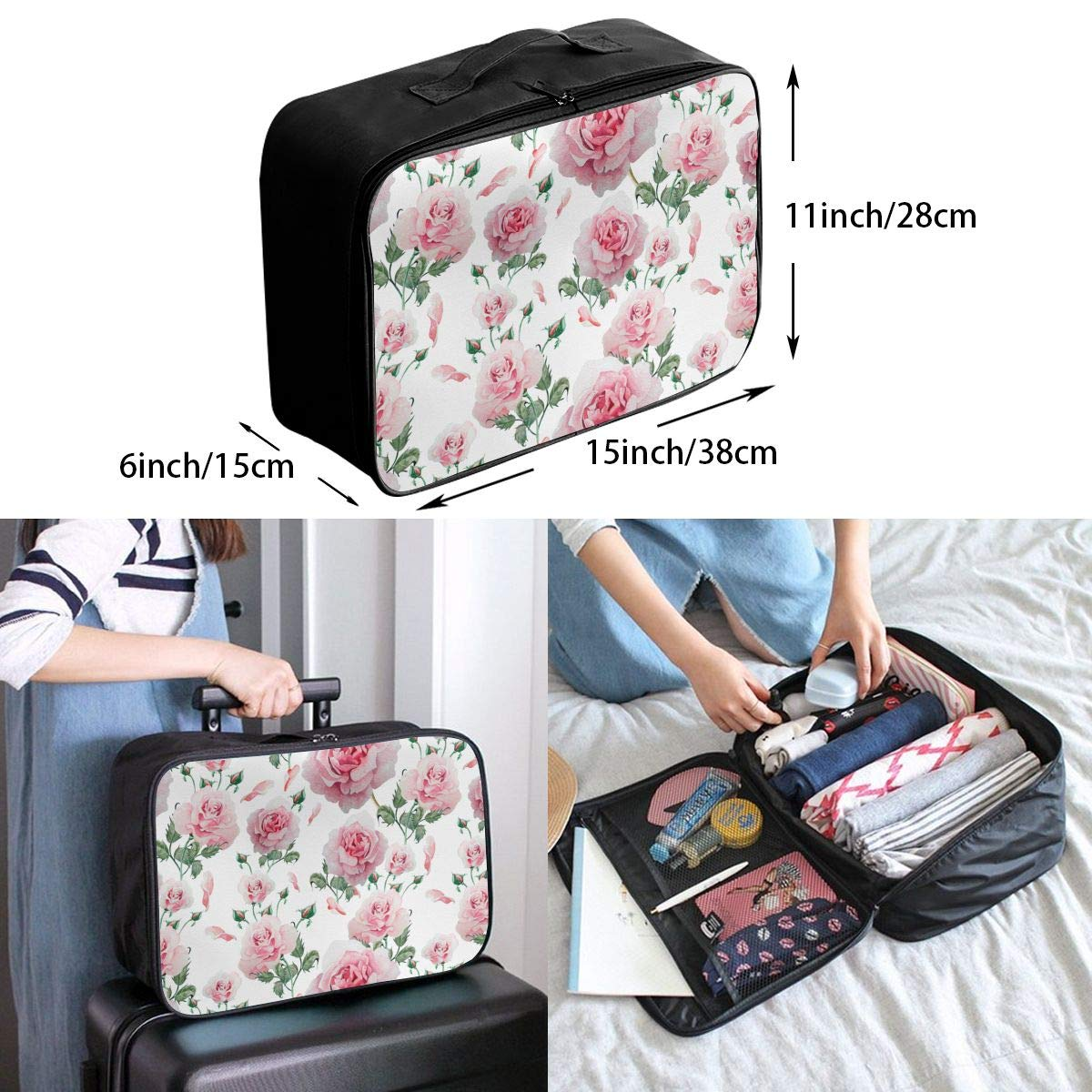 YueLJB Watercolor Roses Lightweight Large Capacity Portable Luggage Bag Travel Duffel Bag Storage Carry Luggage Duffle Tote Bag