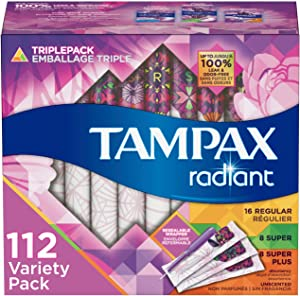 Tampax Radiant Plastic Tampons, Regular/Super/Super Plus Absorbency Triplepack, 112 Count, Unscented (28 Count, Pack of 4 - 112 Count Total)