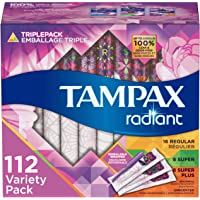 Tampax Radiant Plastic Tampons, Regular/Super/Super Plus Absorbency Triplepack, Unscented, 28 Count, Pack of 4 (Total 112 Count)
