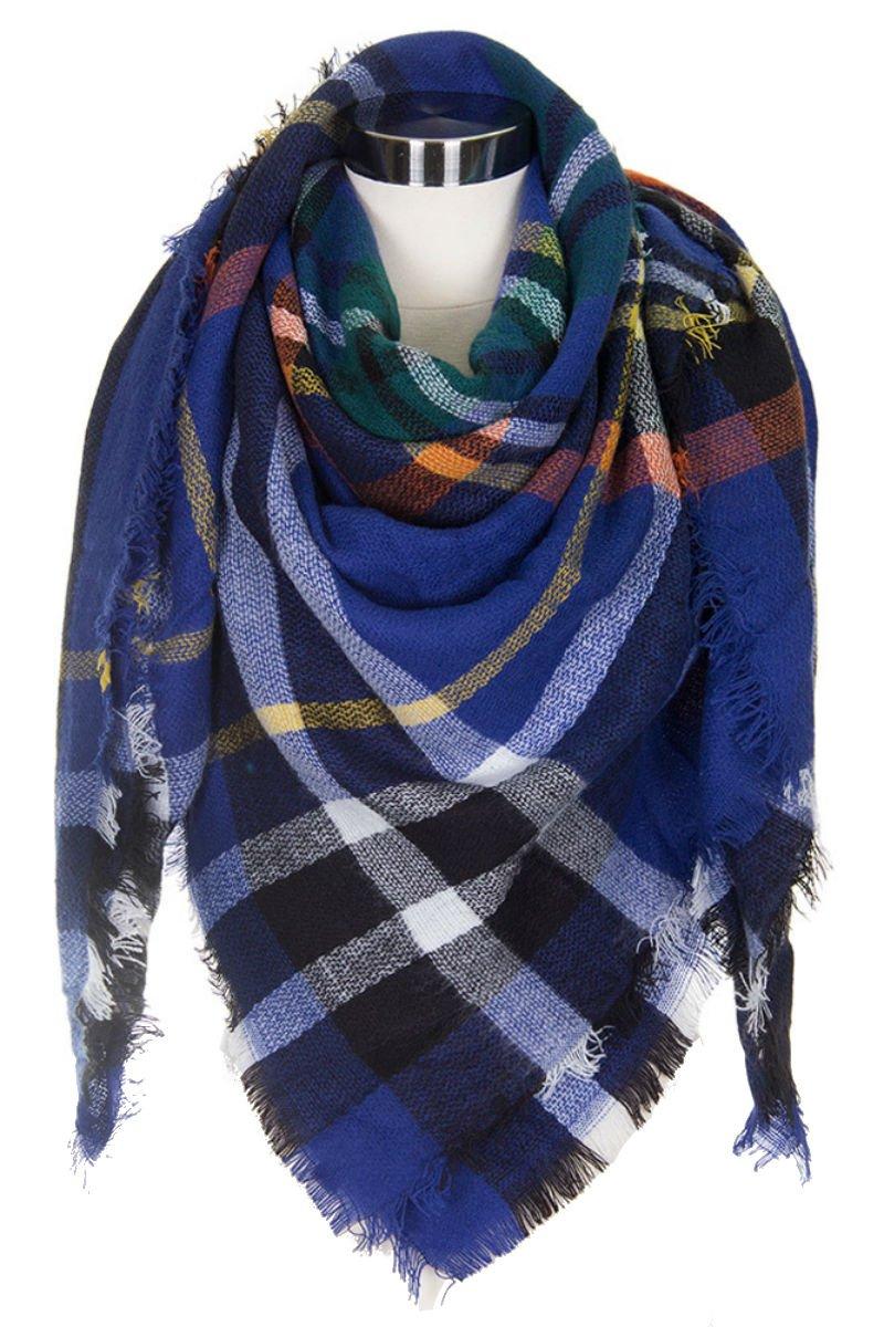 Plum Feathers Premium Plaid Pattern Knit Large Blanket Scarf with Fringes (Blue Big Plaid)