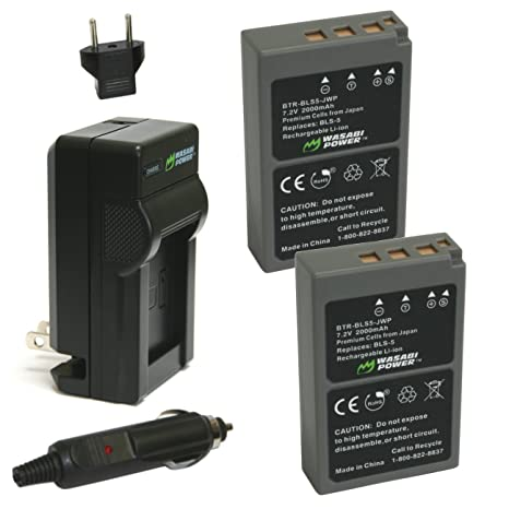 Wasabi Power Battery (2-Pack) and Charger for Olympus