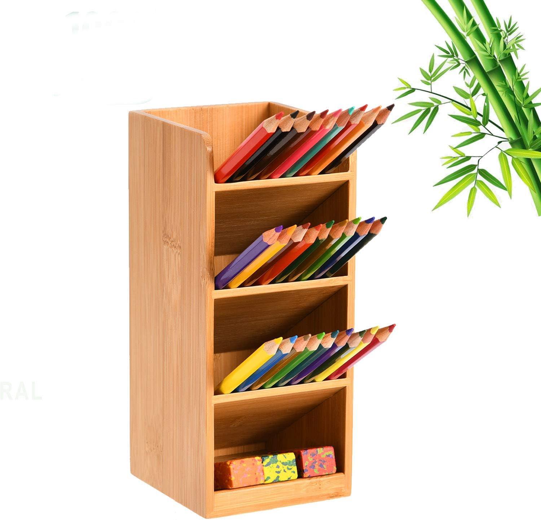 Marbrasse Bamboo Pen Holder, Wood Desk Organizer, Multi-Functional Pen Organizer for desk, Desktop Stationary Storage Caddy Rack for School Home Office Art Supplies and Kitchen