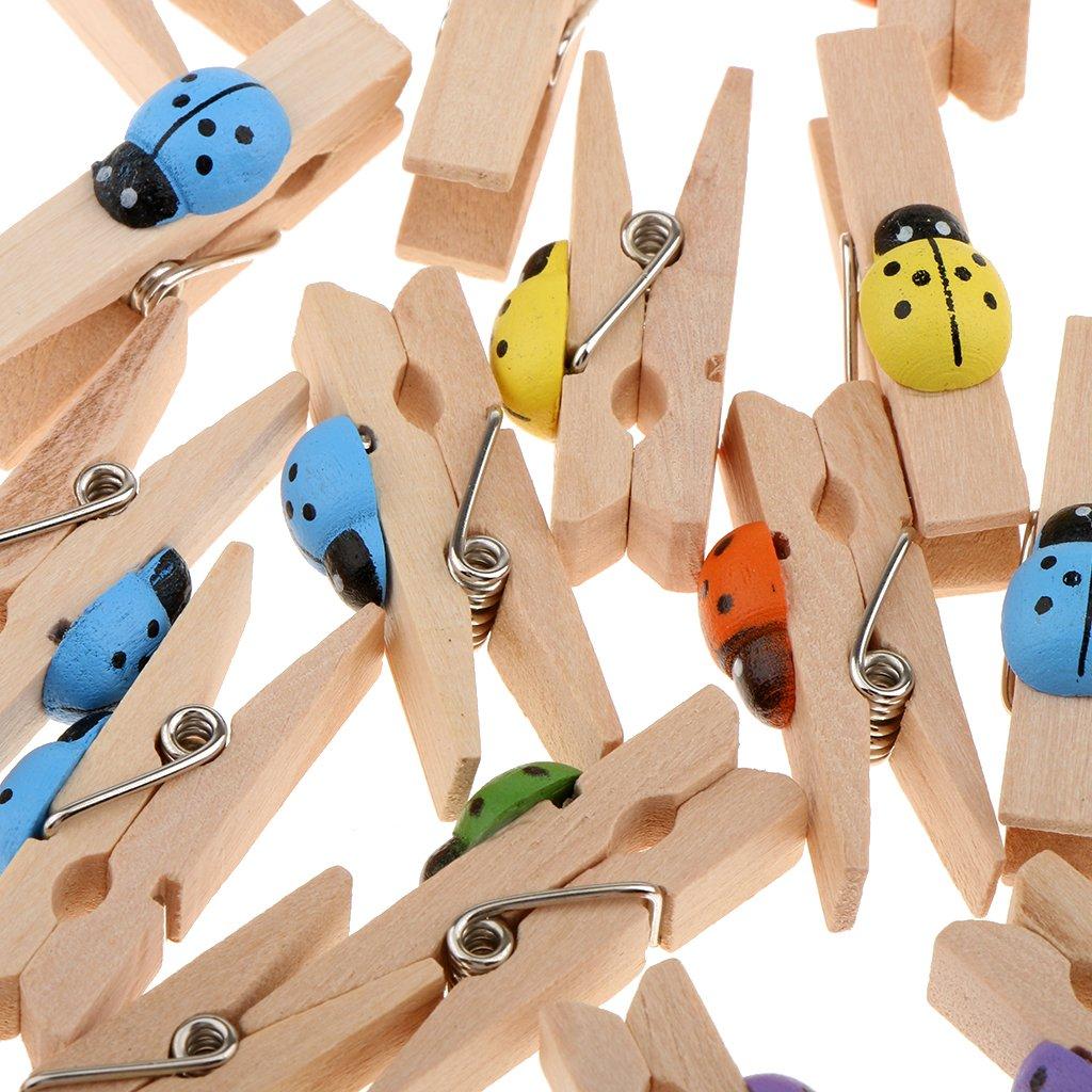 MagiDeal 30pcs Kawaii Coccinella Clip di Naturale Legno Craft Mollette per Foto File Decorazione Casa Ufficio