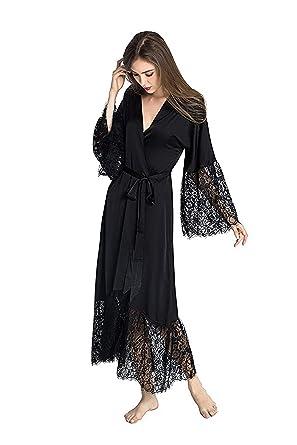 cff4326eec Amazon.com  Summer Lace Patchwork Satin Kimono Robe Sexy Sleepwear Lingerie  Chemises Women Silk Long Nightgown Wedding Bridesmaid Robes  Clothing