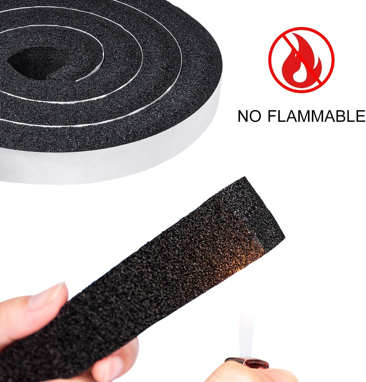Open Cell Foam Weather Stripping Seal InsulatingTape Self Adhesive Total 13 Feet Length Window Air Conditioning Foam Strips 1 inch W X 1 inch T 2 Rolls of 6.5 Ft Each