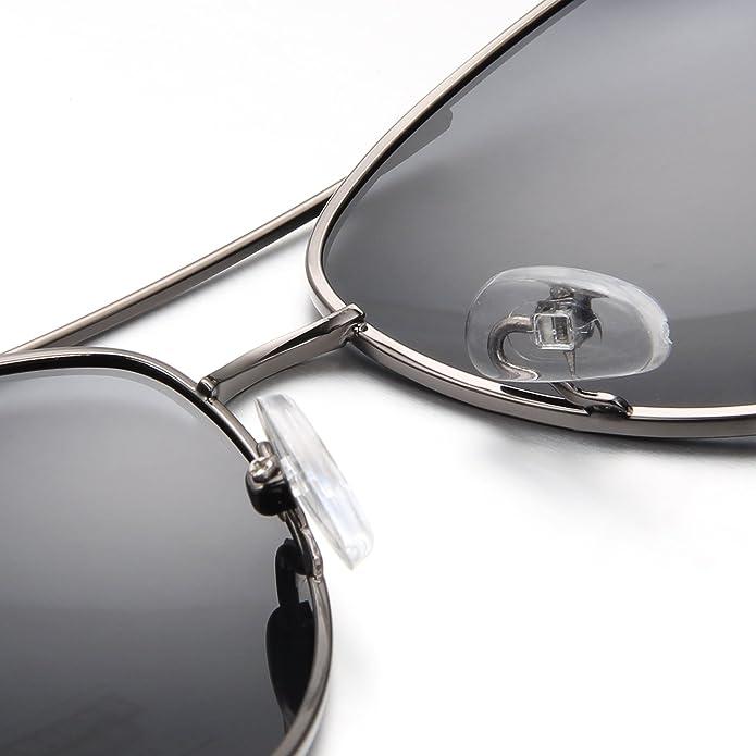 Aroncent Herren klassiker Retro Strahlenschutz Polarisierte Sonnenbrille, Metalllegierung Vollrand Sonnenbrille, Silber Grau Grün