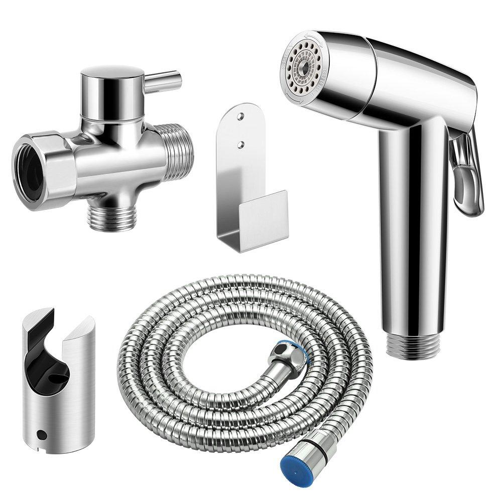 Handheld Bidet Sprayer Set, AOZBZ Shower Bidet Tap Shattaf Spray Faucet Cloth Diaper Cleaning for Toilet Attachment with Hose, Tee Angle Valve, Bidet Holder, Holder Hook