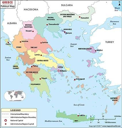 Amazon.: Political Map of Greece (36