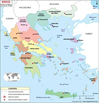 Political Map Of Greece 36 W X 37 83 H Amazon Co Uk Office