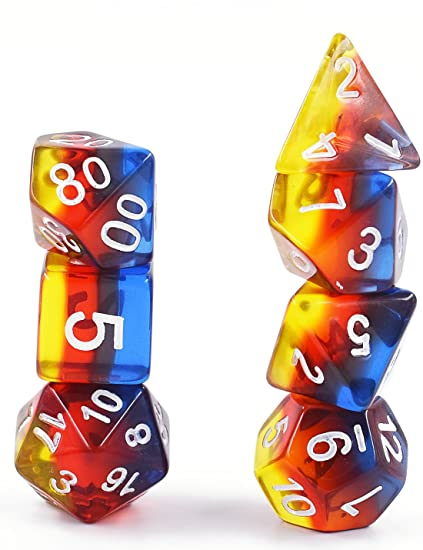 HDdais Polyhedral 7-Dice Set DND Dice for Dungeons and Dragons RPG MTG  Table Games Dice