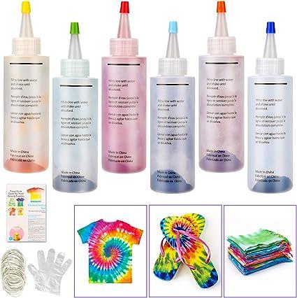 Non Tossico One Step con Tie Dye Polveri Tie Dye Kit Elastici e Guanti per Bambini e Adulti Spremere Bottiglie KNMY 32 Colori per Tessuti Permanenti a Cravatta Kit di Tinture per Tessuto
