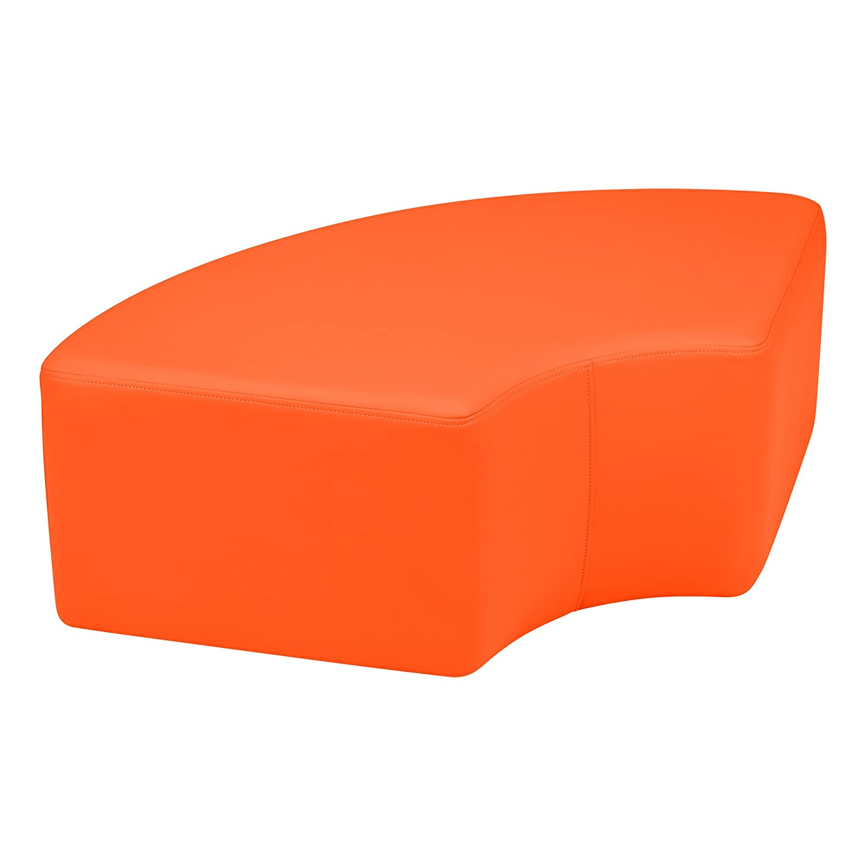 orange 12  Sprogs Vinyl Soft Seating Curved Stool, 18  H, orange, SPG-1012OR-A
