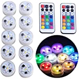 Submersible LED Lights, KUCAM Waterproof LED Tea Lights Candle with Remote Battery Operated,RGB Color Changing for Vase…