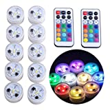 10pcs Submersible Vase Lights LED Tea Lights Candle, RGBW Color Changing with Remote, CR2450 Battery Operated, Waterproof for Pond, Fountain, Paper Lantern, Wedding Party Table Centerpieces