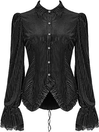 Punk Rave Mujer Gótico Steampunk Top Camisa Blusa Terciopelo Negro Victoriano Corsé: Amazon.es: Ropa y accesorios