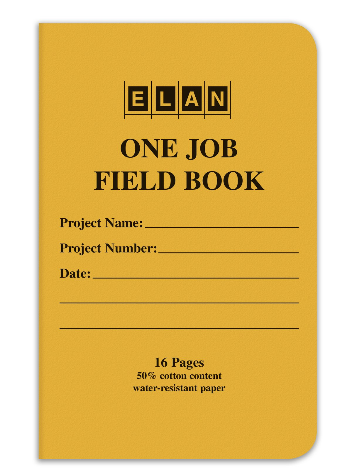 Elan Publishing Company One-Job Saddle Stiched Field Surveying Book 4 ⅝ x 7 Yellow Stiff Cover (Pack of 12)
