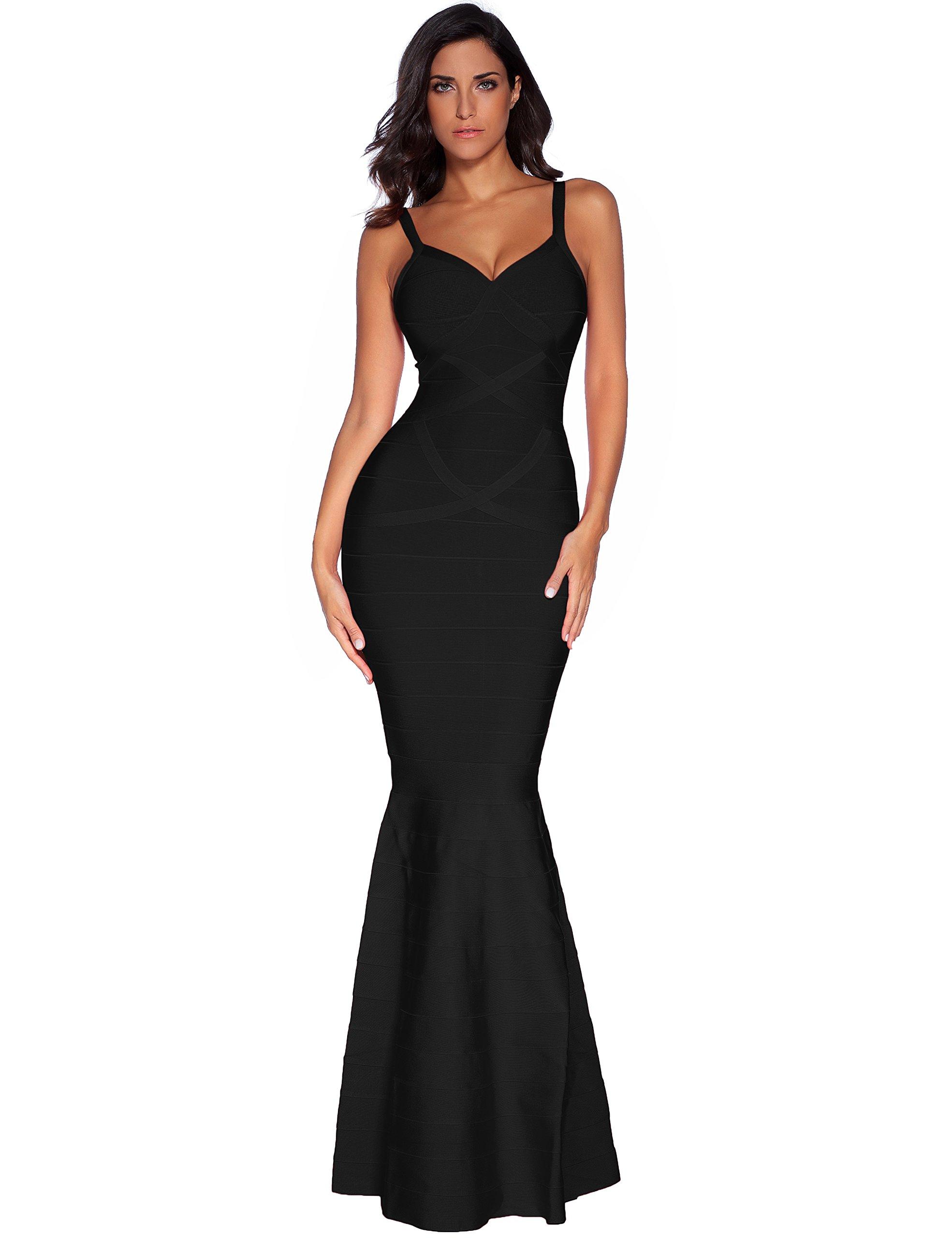 Meilun Womens Sleeveless Maxi Bandage Dress Strap Swing Dress X-Small Black