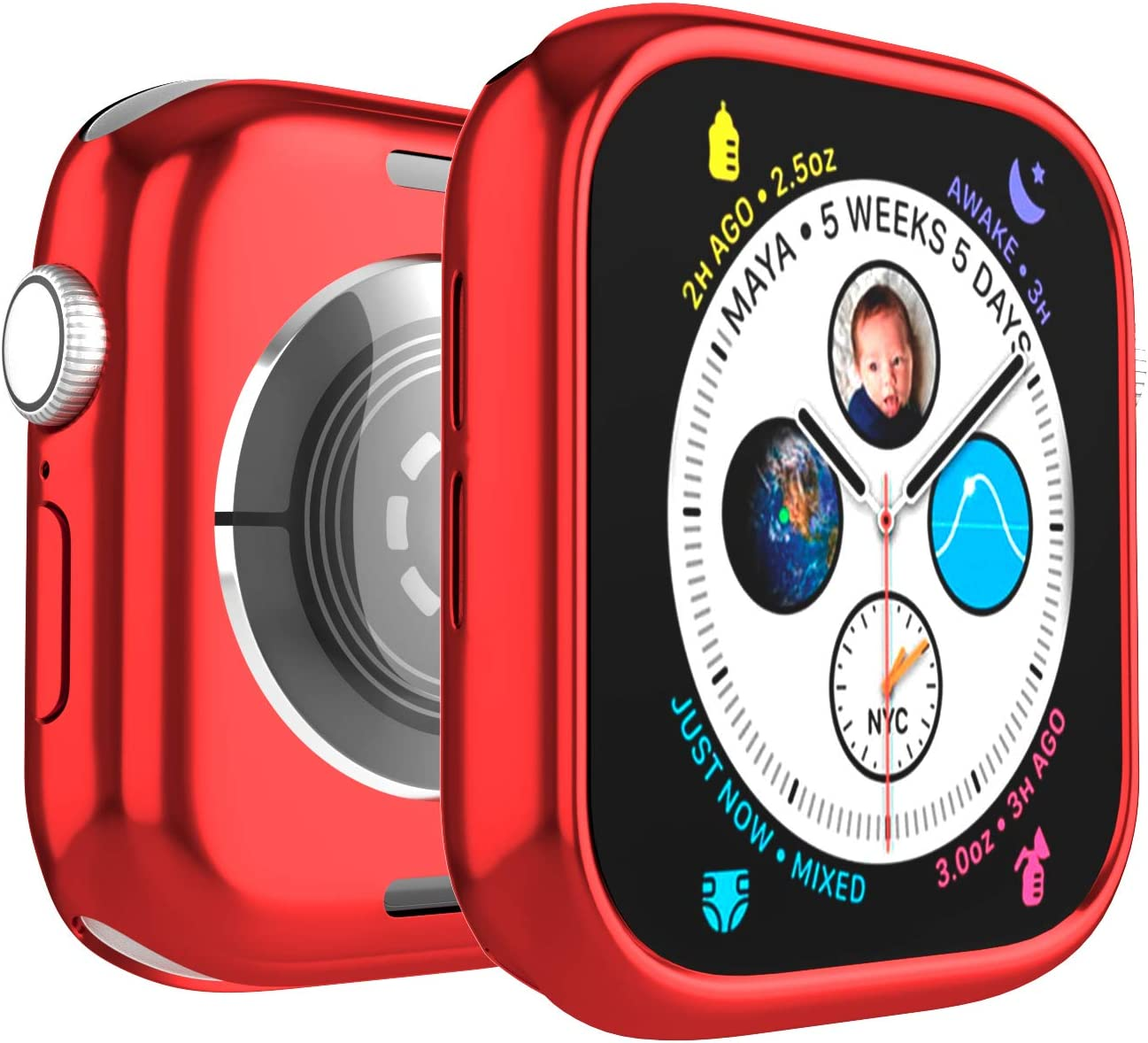 Case for Apple Watch 44mm Series 6 Series SE Series 5 Series 4 Bumper Protection Soft TPU Ultra-Slim Lightweight Resistant Protective Case Cover, Red