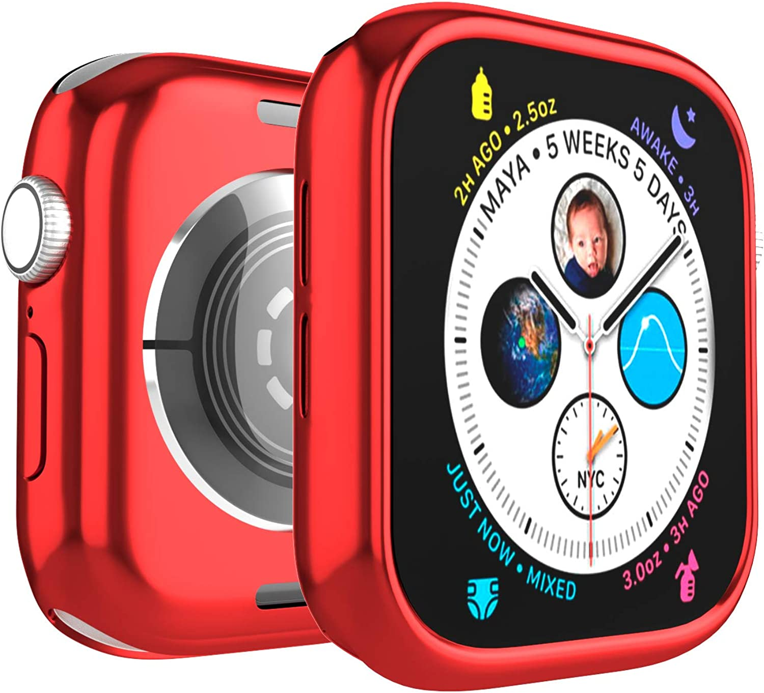Case for Apple Watch 44mm Series 6 Series SE Series 5 Series 4 360x Full Body Protection Soft TPU Ultra Slim Lightweight Resistant Protective Case Cover, Red