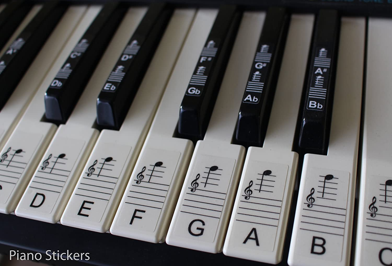 photograph relating to Piano Key Stickers Printable titled Keyboard or Piano Stickers up towards 88 Solution Mounted for the BLACK and WHITE keys, LAMINATED, Obvious, Detachable, PSBW 88