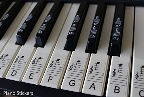 Keyboard Or Piano Stickers Up To 61 Key Set For The Black