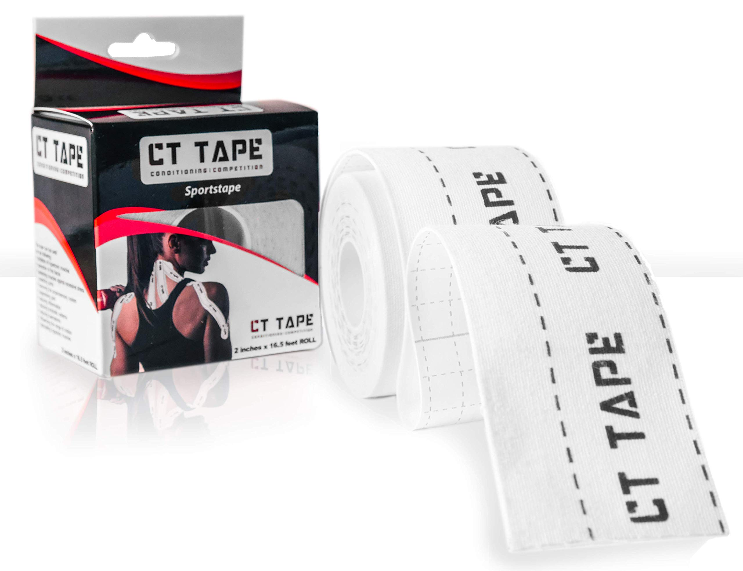CT Tape Sports & Kinesiology Recovery Tape for Sensitive Skin - Best Breathable, Latex Free Pain Relief Therapeutic Kinesio Tape - Performance Adhesive For Muscles, Knee, Shoulder, Ankle, Back-16.5 FT