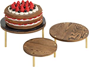 MyGift 3-Piece Round Burnt Brown Wood Server Dessert & Bakery Display Riser Stands with Brass Tone Legs
