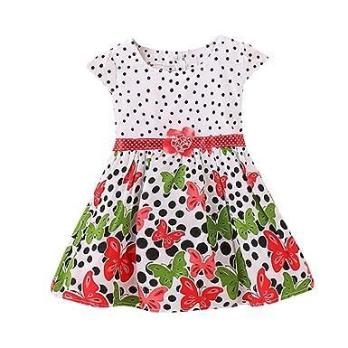 ShiTou Girls Dress&&Girls Dot Butterfly Print Flower Casual Dress Clothes ...