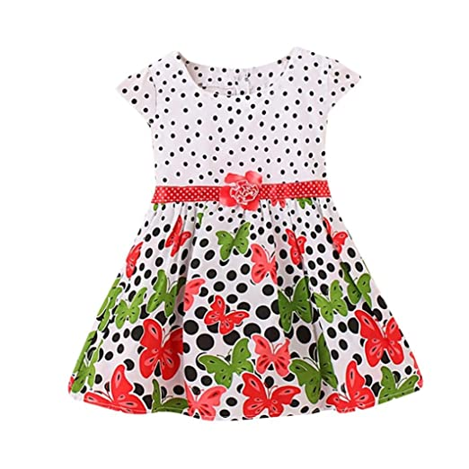 ShiTou Girls Dress&&Girls Dot Butterfly Print Flower Casual Dress Clothes (Red, ...