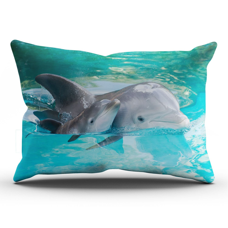 SALLEING Funda de coj/ín con dise/ño de delfines cuadrados