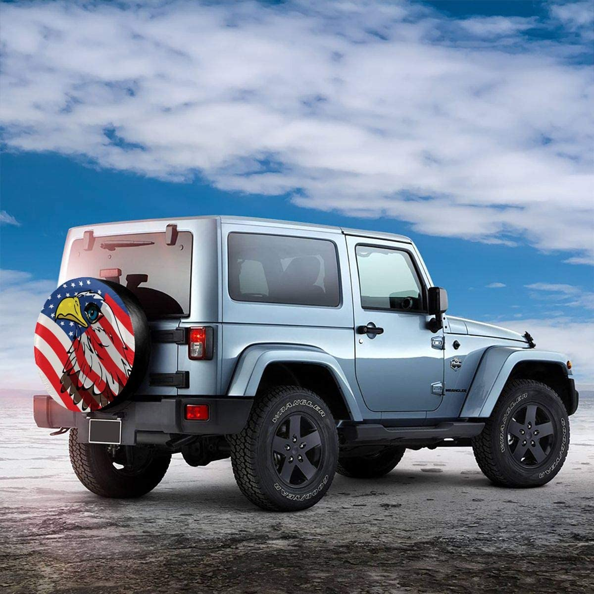 Delerain USA Flag Flower Spare Tire Covers for RV Jeep Trailer SUV Truck and Many Vehicle Wheel Covers Sun Protector Waterproof, 14 Inch for Diameter 23-27